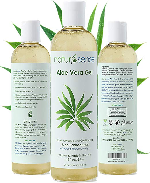 Organic Aloe Vera Gel Great for Face, Hair, Sunburn